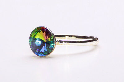 Sassy Party Silver Tone Metal Ring Round Sparkling Rainbow-Like Stone (Zx33)