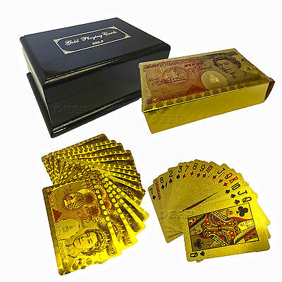 Unique Luxury Deck Of  Gold Plated Playing Cards 99.9% Pure Gold Plated With Box