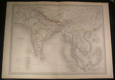 India British Colonies Siam SE Asia 1858 fine old vintage antique hand color map