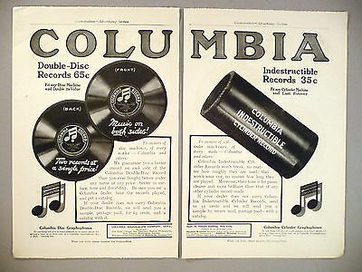 Columbia Indestructible Phonograph Records 2-Pg PRINT AD - 1909 ~cylinder record