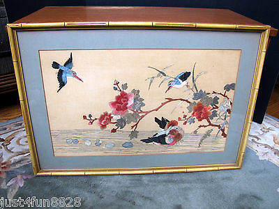 Antique Chinese  Embroidery Needlepoint of Birds & Flowers w/ Frame