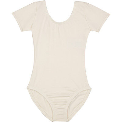 IVORY CREAM Short Sleeve Leotard for Toddler & Girls