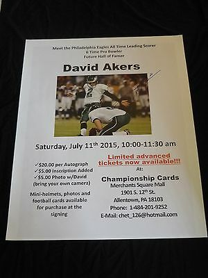 July 11 2015 Eagles David Akers Autographed Poster Advertisement