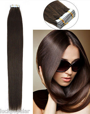 Seamless Tape In Skin Weft 100% Remy Human Hair Extensions Dark Brown 16-26Inch