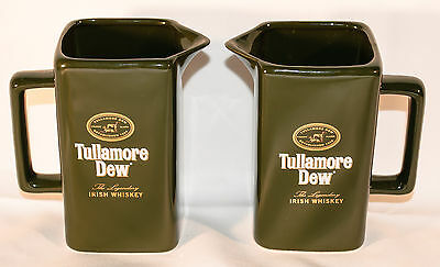 "Pair of Tullamore Dew Irish Whiskey Pitchers small green 4 1/2"" tall"