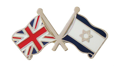 Israel Flag & United Kingdom Flag Friendship Pin Badge - T4068