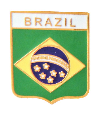 Brazil National Flag Shield Pin Badge - T993