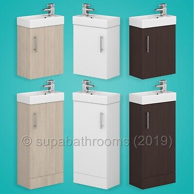 Bathroom Cloakroom Compact Vanity Unit & Basin Sink 400mm Wall Hung & Floor