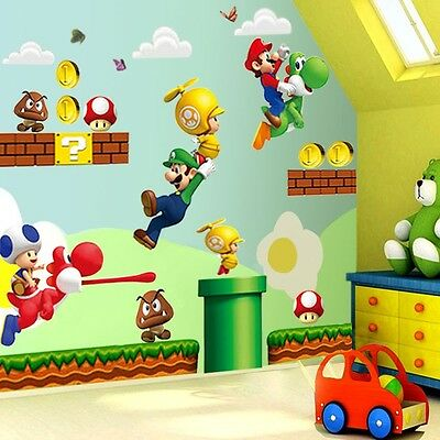 Super Mario Bro Mural Vinyl Wall Decals Sticker for Kids Nursery Room Home Decor
