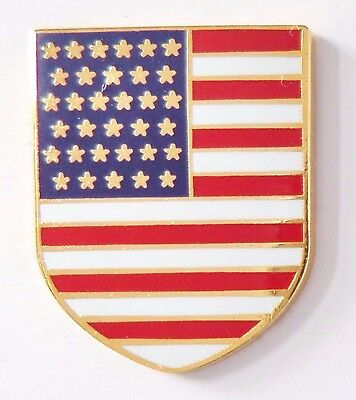 United States Of America USA National Flag Larger Shield Pin Badge - T853