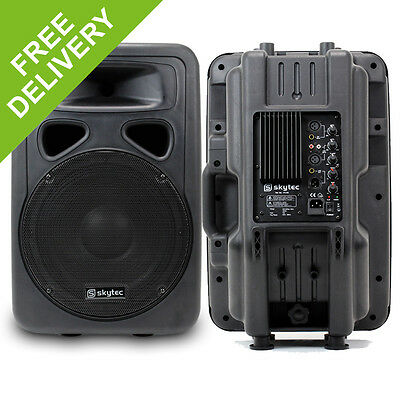 "2x Skytec 12"" Active Mobile Lightweight PA Karaoke Speakers System 1200W"