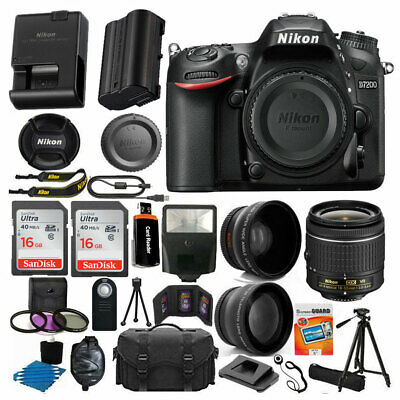 Nikon D7200 Digital SLR Camera Body 3 Lens Kit 18-55mm Lens + 24GB Best Value