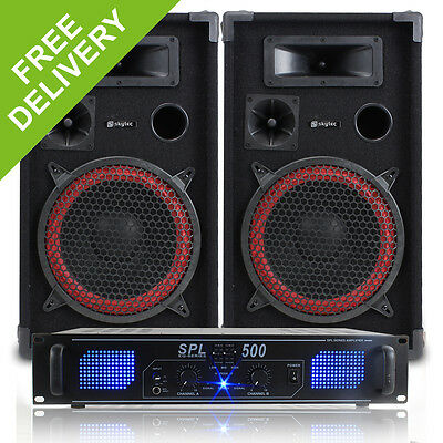 "2x Skytec 10"" Inch Red Party Speakers Disco DJ Amplifier Home Audio System 700W"