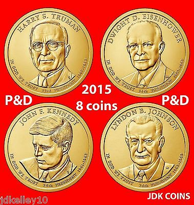 2015 P&d Presidential Dollar 8 Coin Set Truman Eisenhower Jfk Lbj Johnson