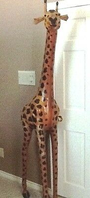 Beautiful leather giraffe about 6 foot tall decorative use