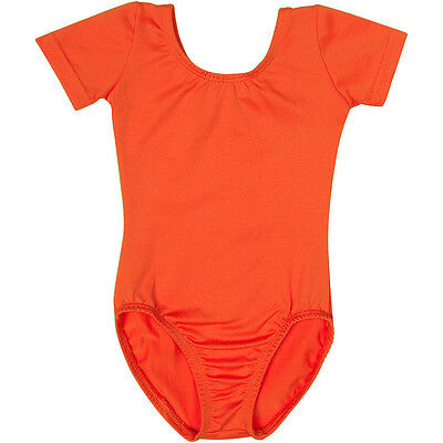 ORANGE Short Sleeve Leotard for Toddler & Girls