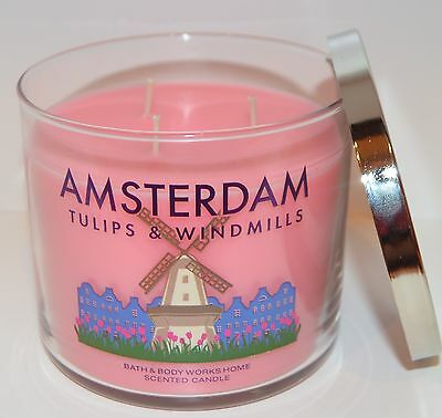 Bath & Body Works Amsterdam Tulips Windmills Scented Candle 3 Wick 14.5 Oz Large