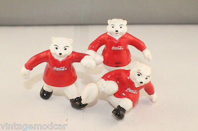 Vintage 1980's Coca-Cola Football Polar Bears Toy Figurines, NZ-Wales-Scotland