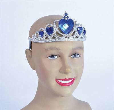 Silver Plastic Tiara with Blue Stone Princess, Fairy, Angel Fancy Dress #US