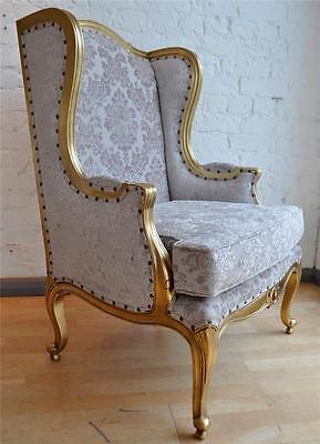 Large Gilt Mahogany Quality French Period Gold Leaf Damask Wingback Throne Chair