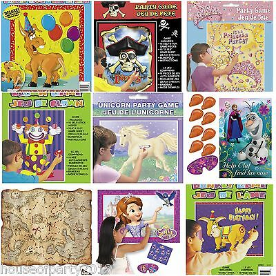 Childrens Birthday Party Games - Pin The Tail, Princess, Pirate, Clown, Frozen