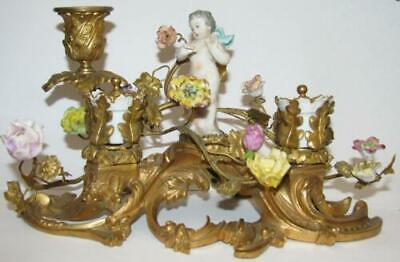 Antique Victorian Porcelain & Gilt Bronze Rococo Ink well w/ Candle Stick Holder