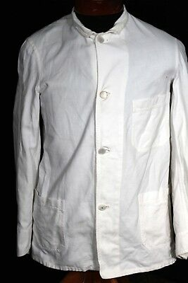 Very Rare 1930'S- 1940'S Vintage White Cotton Work Jacket Size Small 38 On Label