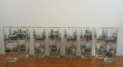 8 Railroad Industrial Steam Engines Cocktail Water Barware Libbey Glasses 1950s