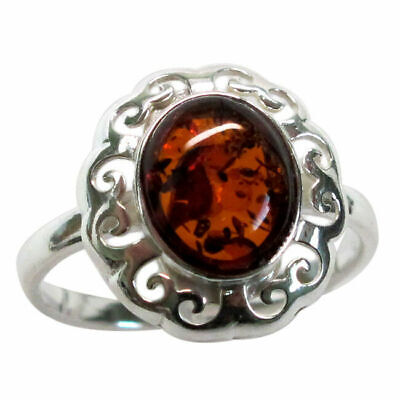 Lovely Natural Baltic Amber Flower 925 Sterling Silver Ring Size 5-10