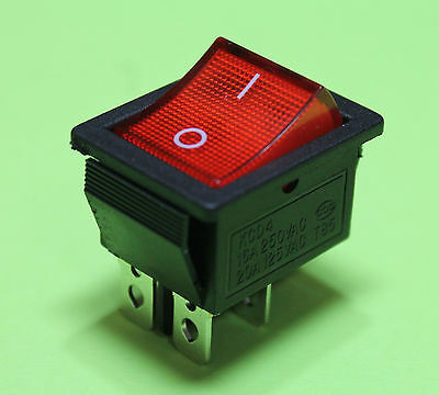 Red Light On off AC Rocker Switch 250V 16 AMP 125V 20A DPST 4 lug terminals USA