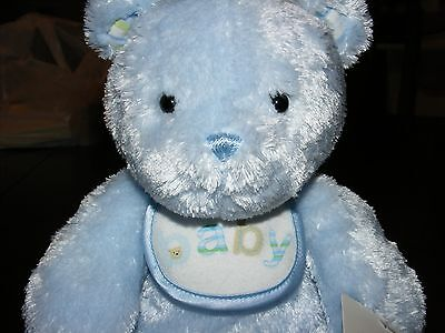 Carters Smileyhappy Friends Blue Baby Bib Teddy Bear New With Tags