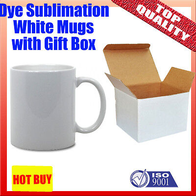 8x DYE SUBLIMATION ink WHITE MUGS with gift box - BEST FOR heat press
