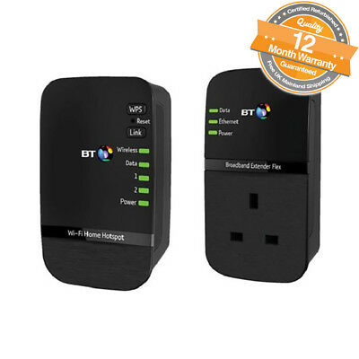 BT Wi-Fi Home Hotspot 500 Kit Powerline Adapter Extender Pack of 2 in Black