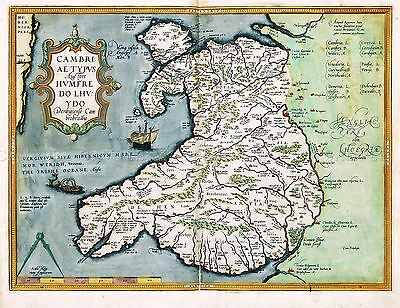 Map Antique 1584 Ortelius Wales Old Historic Large Replica Poster Print Pam0012