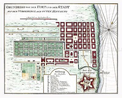 Map Antique 1750 Bellin Cape Town South Africa Plan Replica Poster Print Pam0208