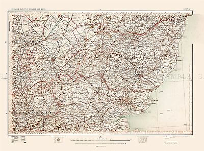Map Antique 1902 Os Uk Suffolk Essex Historic Large Replica Poster Print Pam0411
