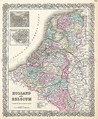 Map Antique Colton 1855 Holland Belgium Old Large Replica Poster Print Pam0830