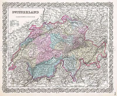 Map Antique Colton 1855 Switzerland Historic Large Replica Poster Print Pam0834