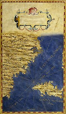 Map Antique Danti Gold Atlas China Japan Old Large Replica Poster Print Pam0860