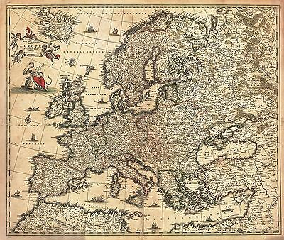 Map Antique De Wit 1700 Europe Old Historic Large Replica Poster Print Pam0883