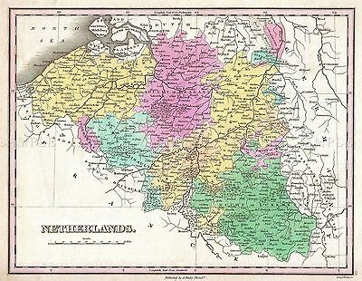 Map Antique Finley 1827 Belgium Luxembourg Old Large Repro Poster Print Pam0899