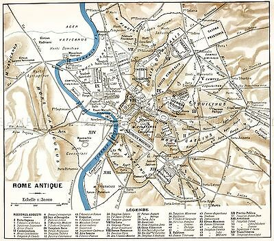 Map Antique Historic 1870 Ancient Rome City Plan Replica Poster Print Pam0915