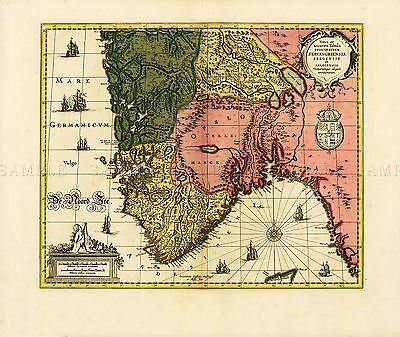 MAP ANTIQUE HOLLAR 17TH CENTURY SURREY COUNTY LARGE REPLICA POSTER PRINT PAM0925