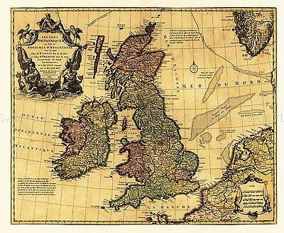 Map Antique L'isle 18Th Century British Isles Large Replica Poster Print Pam0978