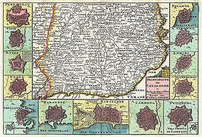 Map Antique Le Feuille 1747 Catalonia Towns Cities Replica Poster Print Pam0982