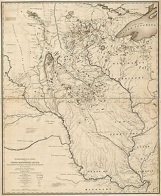 Map Nicollet 1843 Hydrograph Mississippi River Replica Poster Print Pam1151