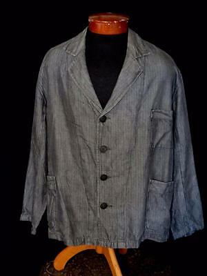 Very Rare French 1940's- 1950's Vintage Grey Cotton Work Jacket Size 2X Large