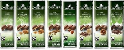 CAVALIER BELGIUM CHOCOLATE BARS WITH MALTITOL/ STEVIA NO SUGAR ADDED 40g