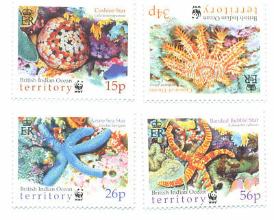 British indian Ocean Territory Sea-Stars marine life set mnh