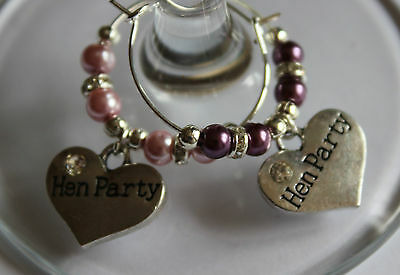 Hen doo luxury wine glass charms - Hen party bags / keep safe
